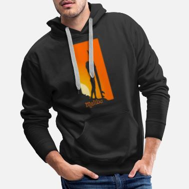 Hawaiian Malibu California Girl Surfing Board Waves Pride - Men's Premium Hoodie