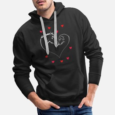 Horses And Dogs Horse and dog form heart - Men's Premium Hoodie