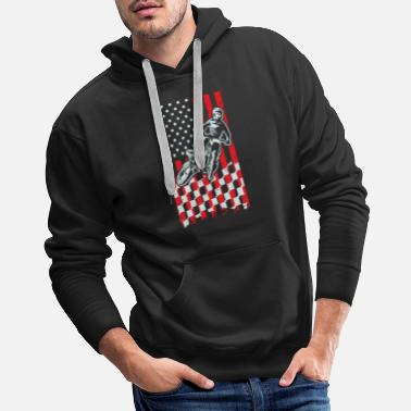 Checkered Motocross Checkered American Flag - Men's Premium Hoodie