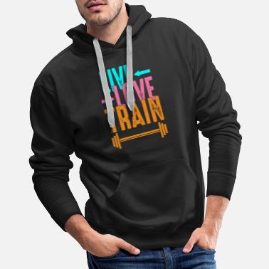 Crunch Live love train gym fitness workout present gift - Men's Premium Hoodie