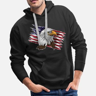 Beyond Patriotic Bald Eagle Head | Stars and Stripes Flag - Men's Premium Hoodie