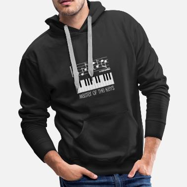 Master Piano Keys and Musical Notes White - Men's Premium Hoodie
