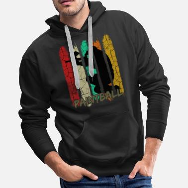 Players Retro Style Vintage Paintball Player Silhouette - Men's Premium Hoodie