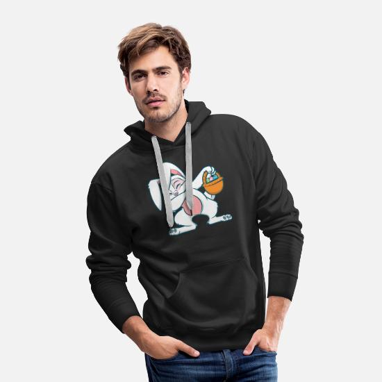 Basket Hoodies & Sweatshirts - Dabbing Easter Bunny Egg Hunting Easter Rabbit - Men's Premium Hoodie black