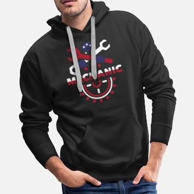 Usa Flag Mechanic Labor Day - Men's Premium Hoodie