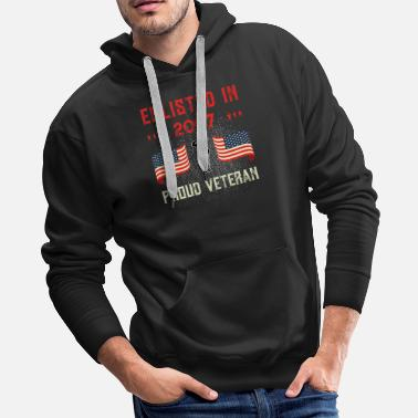 Honor Veteran Enlisted 2007 Quote Proud Vet American - Men's Premium Hoodie