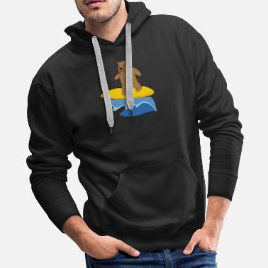 Colors Bear surfing cute animals for children - Men's Premium Hoodie