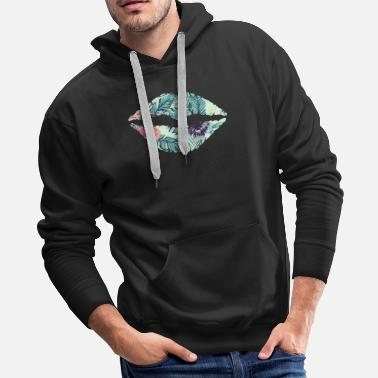 Lips Tropical Floral Kiss Lips Valentine Sexy Love - Men's Premium Hoodie