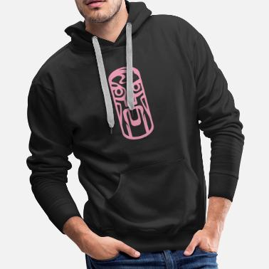 Ancient Pink Totem Africa Tribal Art Tribe Floral Paleo - Men's Premium Hoodie