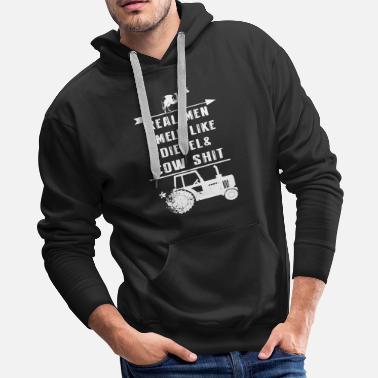 Cow real men smell like diesel and cow shit pig t shir - Men's Premium Hoodie