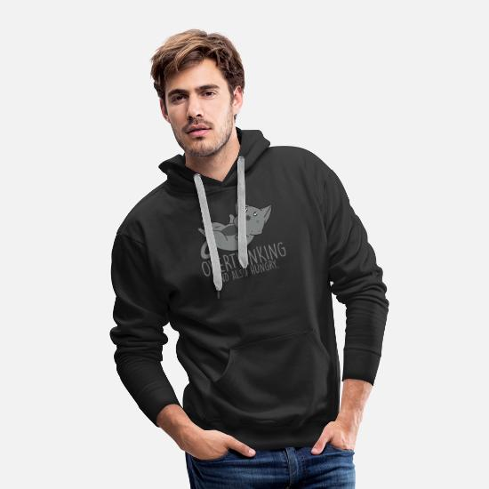 Hipster Hoodies & Sweatshirts - Overthinking And Also Hungry Cat T-Shirt - Men's Premium Hoodie black