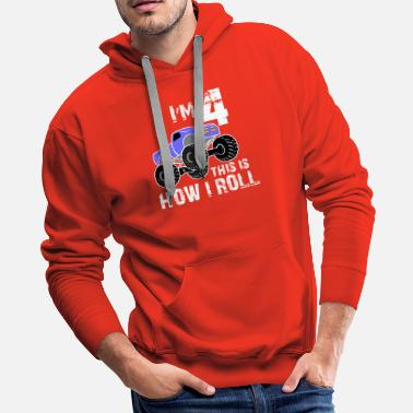 I Am 4 This is How I Roll, Boys Monster Truck - Men's Premium Hoodie