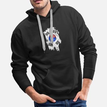 Tourism Korea Flag Country Place Gift Idea - Men's Premium Hoodie