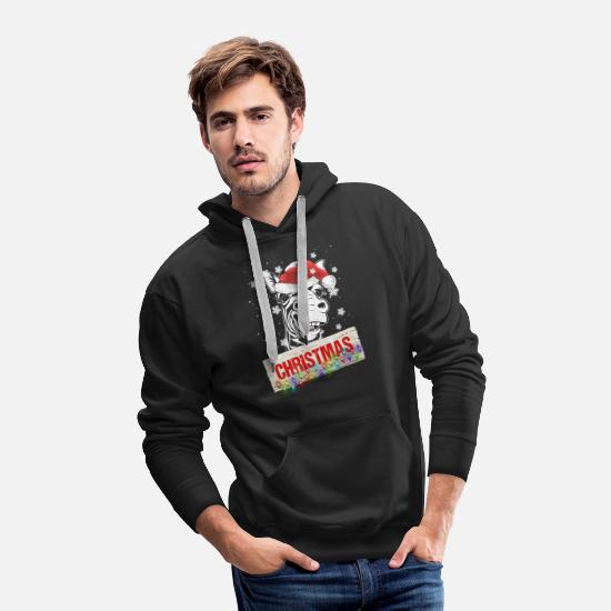 Christmas Hoodies & Sweatshirts - Christmas Zebra - Men's Premium Hoodie black