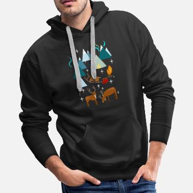 Lights Sami in Northern Norway at night with polar lights - Men's Premium Hoodie