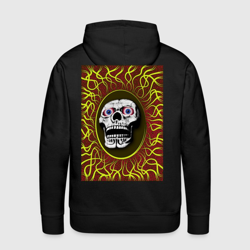 skull with yellow rays around - Men's Premium Hoodie