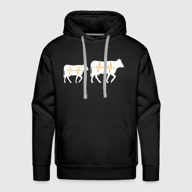 Farmer heartbeat cow shirt gift - Men's Premium Hoodie