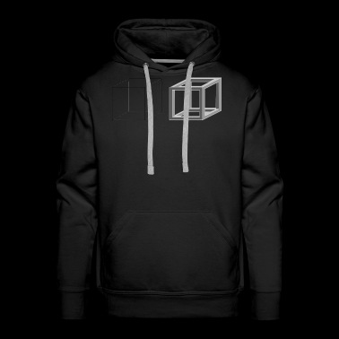 Cube Geometry Present Art Design Grey - Men's Premium Hoodie