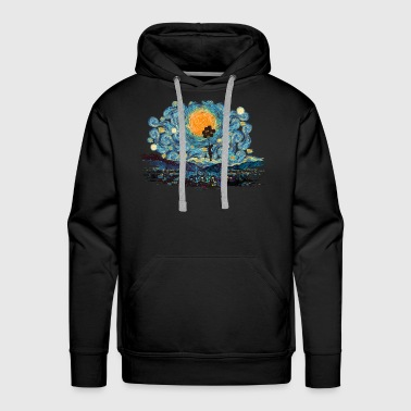 Flying Girl with Balloons at Starry Night T-shirt - Men's Premium Hoodie