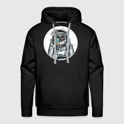 Dog Astronaut Outer Space Moon Icecream Bulldog - Men's Premium Hoodie
