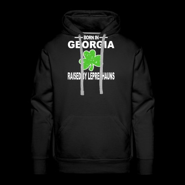 Georgia Shirt Raised By Leprechaun 3 Leaf Clover Hoodie - Men's Premium Hoodie