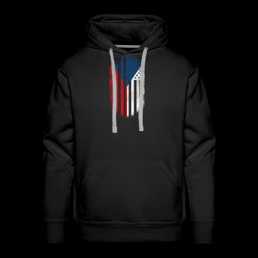 Czech American Flag Czech Republic and USA Design - Men's Premium Hoodie