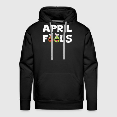 April Fools Colorful Eggs With Bunny Ears Laughing - Men's Premium Hoodie