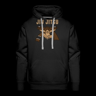 Jiu Jitsu BJJ Sloth Jiu Jitsu Brown Belt with Text Brown Light - Men's Premium Hoodie