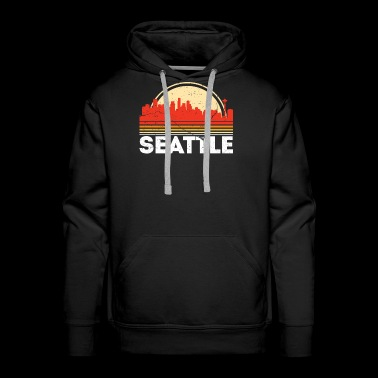 Classic Retro Seattle City Skyline Vintage Shirt - Men's Premium Hoodie