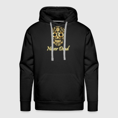 Golden skull Never Dead with artistic forms - Men's Premium Hoodie