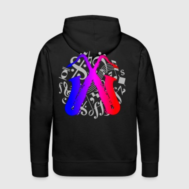 crossed saxophones on music notes - Men's Premium Hoodie