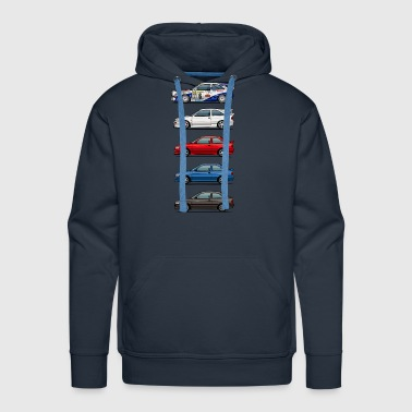 Race Car Stack of Ford Escort MkVs Coupes - Men's Premium Hoodie