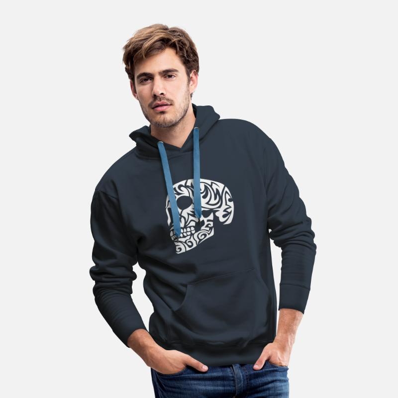 Skull Hoodies & Sweatshirts - tribal skull dead head 7 - Men's Premium Hoodie navy