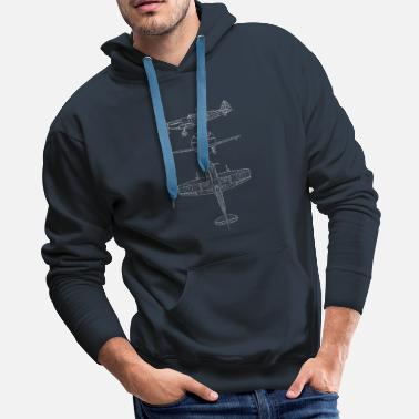 Aviation Spitfire airplane blueprint - Men's Premium Hoodie