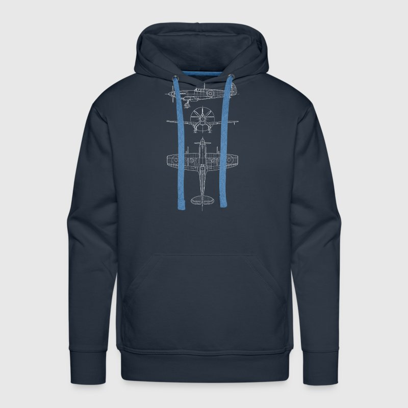 Spitfire airplane blueprint - Men's Premium Hoodie