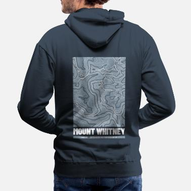 Great Ideas For Hikers Mount Whitney | Topographic Map (Grunge) - Men's Premium Hoodie