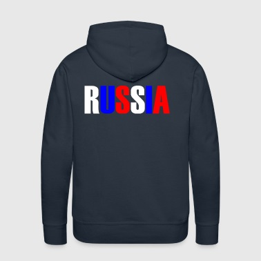 Word RUSSIA in tricolor color flag of the country - Men's Premium Hoodie