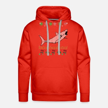 Ugly Shark Christmas Sweater - Men's Premium Hoodie