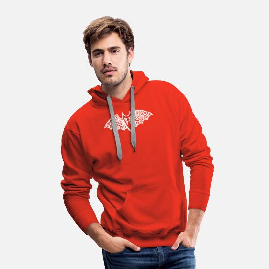 Christian Hoodies & Sweatshirts - Hand Drawn Bat Clip Art Bat With Fangs Halloween - Men's Premium Hoodie red