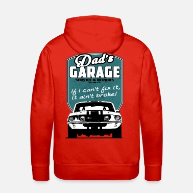 Bikes And Cars Collection Dad's Garage with 68 Mustang - Men's Premium Hoodie