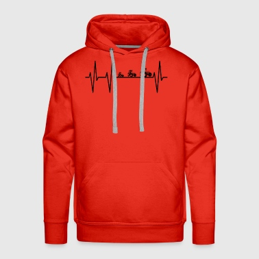 My heart beats for tractors cows farmers! ekg farm - Men's Premium Hoodie