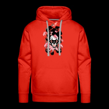 skull pipe hipster elephant pink smoking - Men's Premium Hoodie