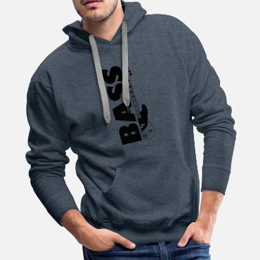 Clef Half bass guitar and the word bass on the side - Men's Premium Hoodie