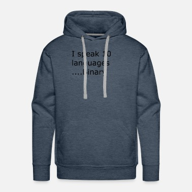 Ii speak 10 langauges binary black - Men's Premium Hoodie