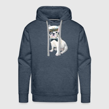 Frenchie French Bulldog black bow tie Captains Hat Dogs In Clothes - Men's Premium Hoodie