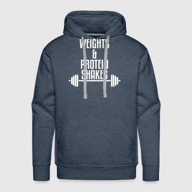 Weights and Protein Shakes - Men's Premium Hoodie