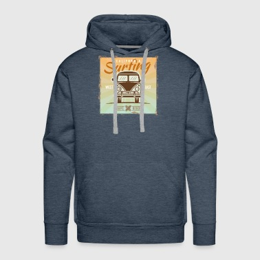 California Surfing West Coast Wave Rider Vector - Men's Premium Hoodie