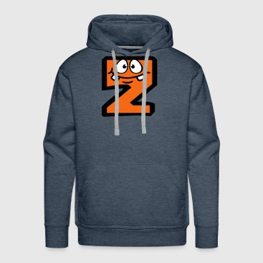 Z letter name write cartoon comic face funny alive - Men's Premium Hoodie