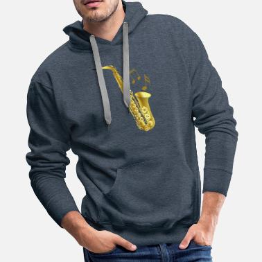Music Note Saxophone with music notes - Men's Premium Hoodie