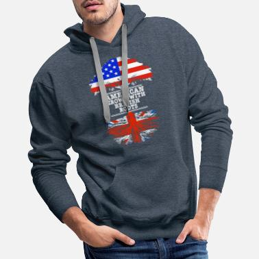 British Flag American Grown With British Roots - Men's Premium Hoodie